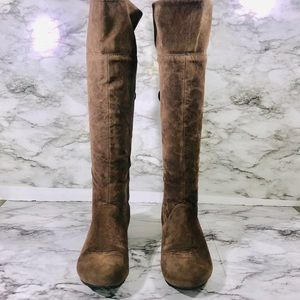 Wild Diva Taupe Knee High Boots Size 7.5